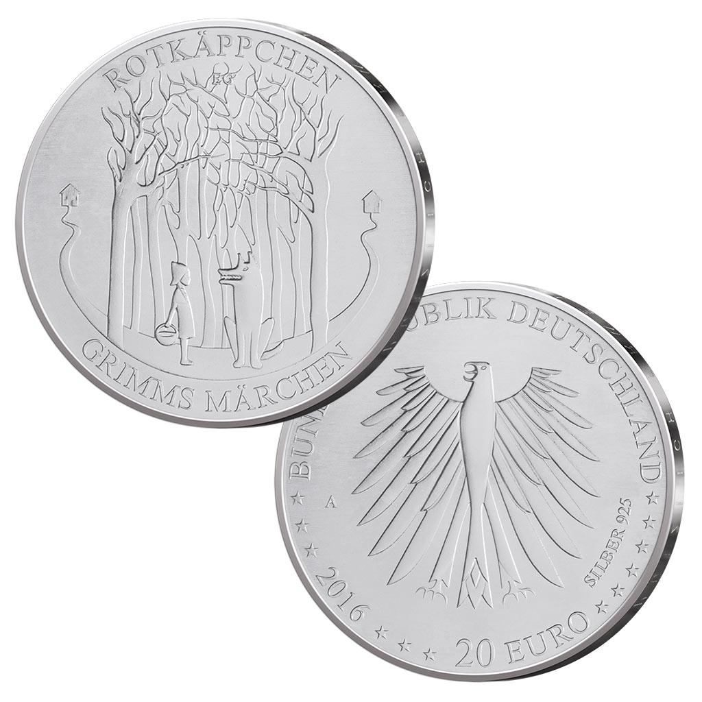 Brd Silber 20 Euro 2016 Grimms Märchen Rotkäppchen Deutschlands