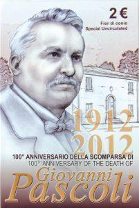 Blister der Stempelglanz-Variante der Münze Italien 2 Euro-Gedenkmünze 2012 - 100. Todestag des Dichters Giovanni Pascoli