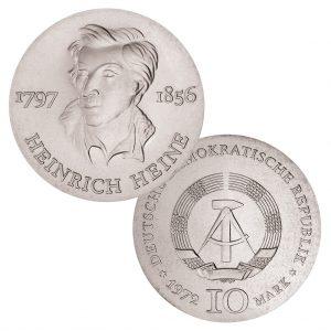 DDR 10 Mark 1972 175. Geburtstag Heinrich Heine, 625er Silber, 17g, Ø 31mm, Prägestätte A (Berlin), Auflage: 100.297, Jaeger-Nr. 1542