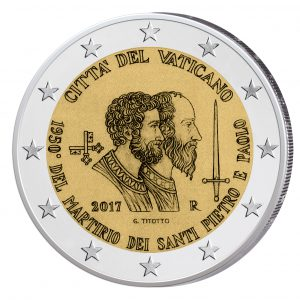 """Vatikan 2 Euro Gedenkmünze 2017 """"1950. Jahresstag des Martyriums von Sankt Peter und Sankt Paulus"""""""
