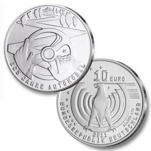 BRD 10 Euro 2011 125 Jahre Automobil, st = CuNi, 14g, Ø 32,5mm, PP = 625er Silber, 16g, Ø 32,5mm, Jaeger-Nr. 560