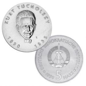 DDR 5 Mark 1990 100. Geburtstag Kurt Tucholsky, Neusilber (CuZnNi), 12,2g, Ø 29mm, Prägestätte A (Berlin), Auflage: 50.171 (PP: 4.000), Jaeger-Nr. 1633