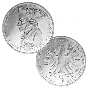 BRD 5 DM 1986 200. Todestag Friedrich der Große, Magnimat, 10g, Ø 29mm, Prägestätte F (Stuttgart), Jaeger-Nr. 440, Auflage: 8.000.000 (PP: 350.000)