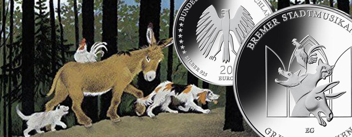 BRD Silber 20 Euro 2017 Grimms Märchen – Bremer Stadtmusikanten – letzte Münze der BRD Gedenkmünzen-Serie zu Märchen der Brüder Grimm
