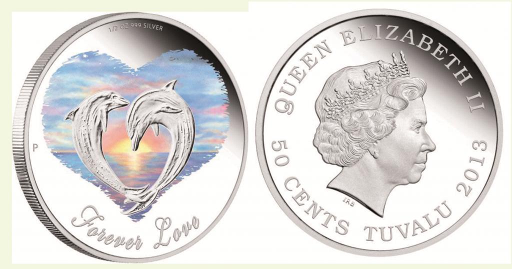 Tuvalu 50 Cents 2013, 999er Silber, ½ Unze, 36,60mm, mit Farbapplikation, im Etui, Auflage: 7.500