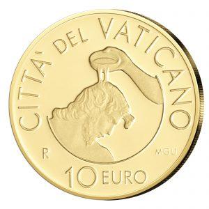 """Vatikan 10 Euro 2014 """"Die Taufe"""", 917er Gold, 3 Gramm, 13,85mm, im Etui mit Echtheitszertifikat, Auflage: 4.000"""