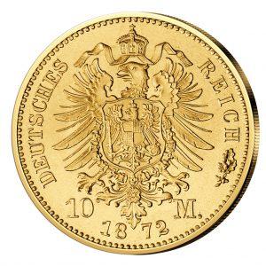 Wertseite der Münze Deutsches Reich – Königreich Preußen 10 M 1872 Wilhelm I., 900er Gold, 3,982 Gramm, Ø 19,5mm, Jaeger-Nr. 242, prägefrisch (aus dem Juliusturm)