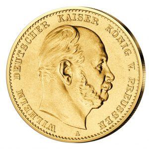 Portraitseite der Goldmünze Deutsches Reich – Königreich Preußen 10 M 1872 Wilhelm I., 900er Gold, 3,982 Gramm, Ø 19,5mm, Jaeger-Nr. 242 prägefrisch (aus dem Juliusturm)