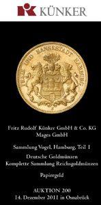 Titelblatt des Auktionskataloges Künker, Auktion 200, Dezember 2011
