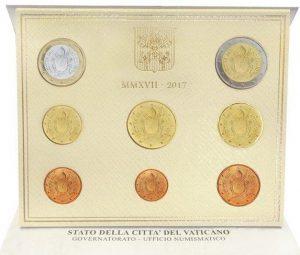 Vatikan offizieller_Kursmünzensatz 2017 Stempelglanz im Blister, Auflage: 70.000