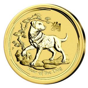 "Australien 15 Dollars 2018 ""Jahr des Hundes"", 999,9er Gold, 1/10 Unze (3,11 Gramm), Ø 18,60 mm"