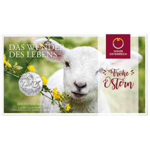 Österreich 5 Euro 2017 Das Osterlamm, Blister der Silbermünze