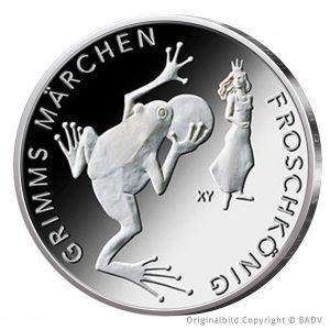 """BRD 20 Euro 2018 """"Grimms Märchen – der Froschkönig"""", 925er Silber 18g, Ø 32,5mm. Bild © BADV"""