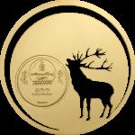 """Mongolei 500 Togrog 2013 """"Mongolian Nature – Roaring Deer (Röhrender Hirsch)"""", 925er Silber vergoldet, ½ Unze,Ø 38,61mm, Auflage: 2.500"""