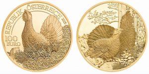 """Beste Goldmünze (COTY 2017): Österreich 100 Euro-Goldmünze 2015 """"Unseren Wildtieren auf der Spur: Der Auerhahn"""", 986er Gold, 16g, Ø 30mm, im Etui mit Zertifikat, PP, Auflage: 30.000"""