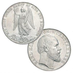 Württemberg Siegestaler 1871, 900er Silber, 18,52g fein, Ø 33mm