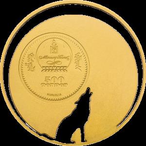"""Innovativste Münze"" (COTY 2015): Mongolei 500 Togrog 2013 ""Mongolian Nature – Crying Wolf (Heulender Wolf)"", 925er Silber vergoldet, ½ Unze,Ø 38,61mm, Auflage: 2.500"