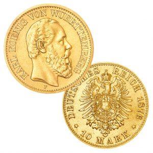 Württemberg 10 Mark 1874-1888 König Karl (*06.03.1823, †06.10.1891), 900er Gold, 3,982g, Ø 19,5mm, Jaeger-Nr. 292