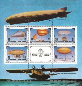 Zeppeline und Luftschiffe auf einer Briefmarke aus Nordkorea