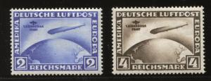 """Flugpostmarken: 1. Südamerika-Fahrt des Luftschiffs """"Graf Zeppelin L.Z. 127 - Mi.Nr. 438/439, Michelwert: Euro 3.500,-"""
