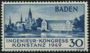 Baden Ingenieur-Kongress 1949 Mi.Nr. 46 II postfrisch, Michelwert 650,- Euro