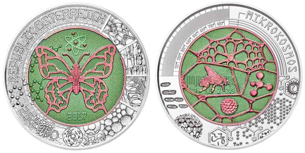 """Österreich 25 Euro Silber Niob 2017 """"Der Mikrokosmos"""""""