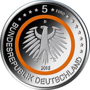 Wertseite der Münze BRD 5 Euro 2018 Subtropische Zone, Copyright BADV, Entwurf. Stefanie Radtke. Quelle: Bundesfinanzministerium, Pressemitteilung Nr. 13 vom 26. April 2017
