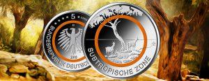 """Motiv veröffentlicht: BRD 5 Euro Münze 2018 – Orangefarbener Polymerring – Subtropische Zone – Serie """"Klimazonen"""""""