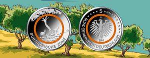 """BRD 5 Euro Münze 2018 – Orangefarbener Polymerring – Subtropische Zone – Serie """"Klimazonen"""""""