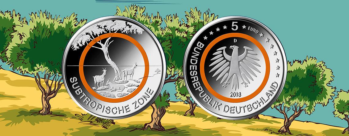 Jetzt Ausgegeben Brd 5 Euro 2018 Subtropische Zone Oranger
