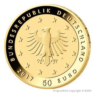 """Wertseite der Münze BRD 50 Euro-Gold 2017 """"Lutherrose"""", Münzbild ©BADV"""