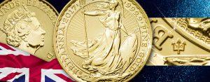30 Jahre Britannia Goldmünze – Jubiläumsjahrgang mit Dreizack Privy Mark