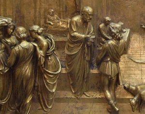 """Detail des Reliefs """"Esau und Jakob"""" von Lorenzo Ghiberti auf dem Paradiestor der Kathedrale Santa Maria del Fiore, Florenz"""