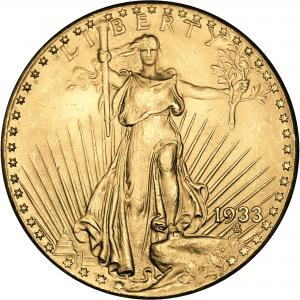 """Lady Liberty Seite der Neuprägung des USA Double Eagle 1933. Goldausgabe mit Motiv """"USA Double Eagle 1933"""", Ø 26mm, Au 333, 1/10 Unze (3,11g), PP"""