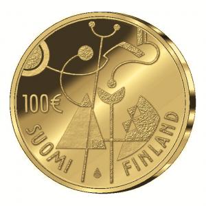 Wertseite der 100 Euro Goldmünze zum 90. Jahrestag der Unabhängigkeit