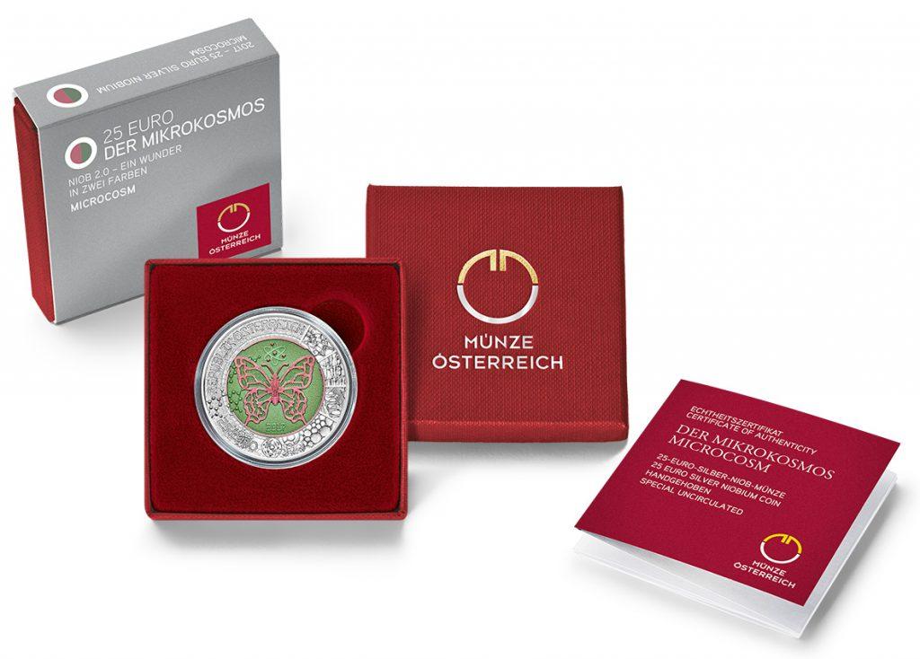 """Verpackung der Münze Österreich 25 Euro Silber Niob 2017 """"Der Mikrokosmos"""""""