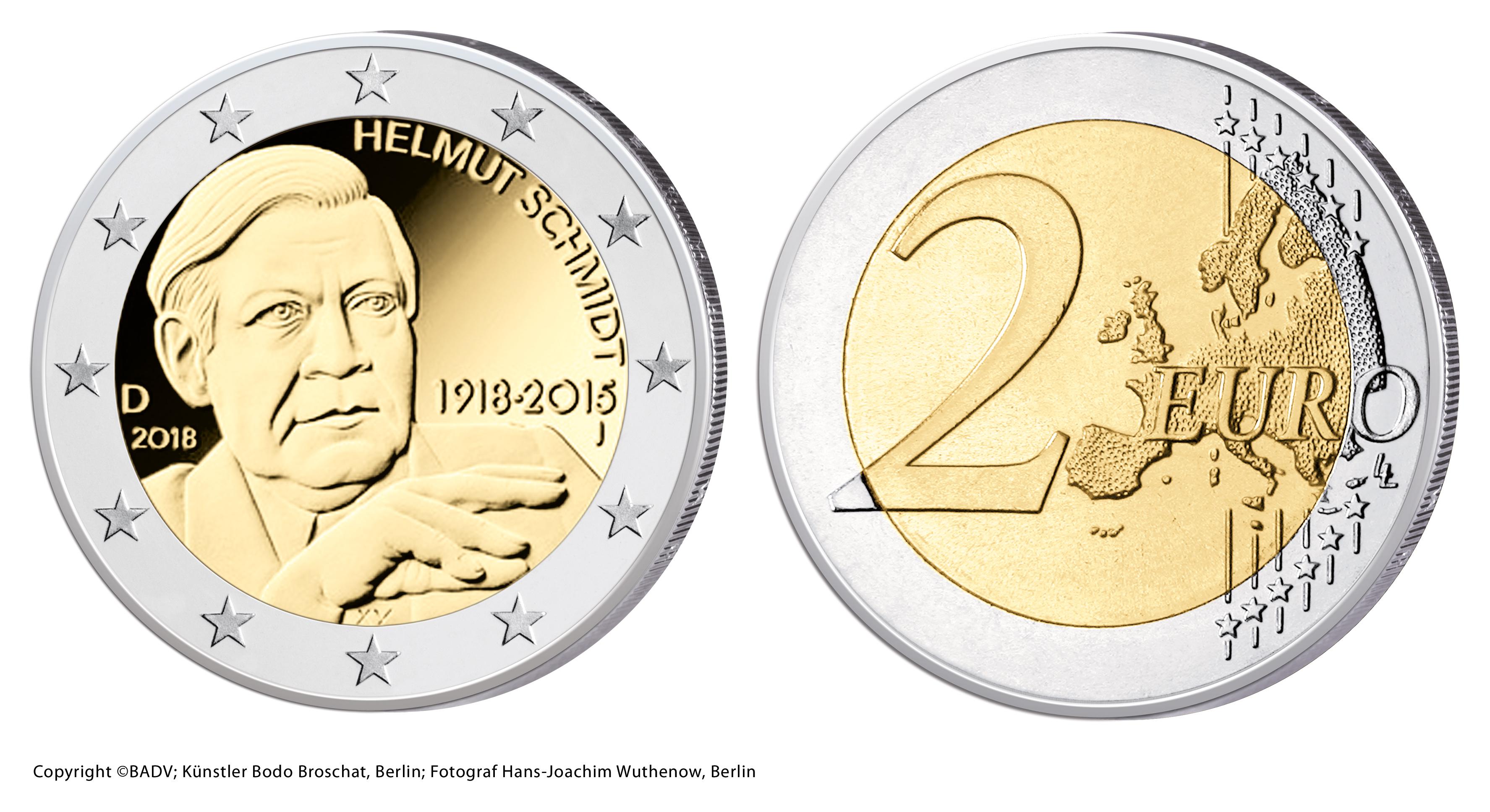 Brd 2 Euro Gedenkmünze 2018 100 Geburtstag Helmut Schmidt