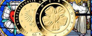 """Heute offizieller Ausgabetag: BRD 50 Euro-Goldmünze 2017 """"Lutherrose"""""""