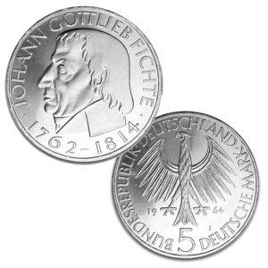 BRD 5 DM 1964, 625er Silber, 11,2g, 29mm, Prägestätte J (Hamburg), vz/st, Auflage: 495.000, Jaeger-Nr. 393