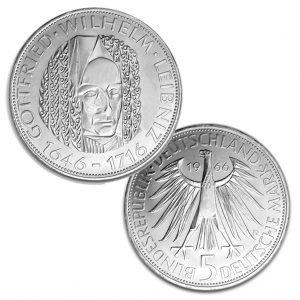 BRD 5 DM 1966 250. Todestag Leibniz, 625er Silber, 11,2g, Ø 29mm, Prägestätte D (München), Jaeger-Nr. 394, Auflage: 1.925.000 (PP: 75.000)