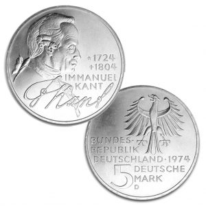 BRD 5 DM 1974 250. Geburtstag Immanuel Kant, 625er Silber, 11,2g, Ø 29mm, Prägestätte D (München), Jaeger-Nr. 414, Auflage: 7.750.000 (PP: 250.000)