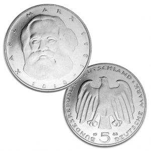 BRD 5 DM 1983 100. Todestag Karl Marx, Magnimat, 10g, Ø 29mm, Prägestätte J (Hamburg), Jaeger-Nr. 433, Auflage: 8.000.000 (PP: 350.000)