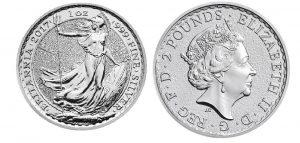 Großbritannien Britannia 1 Unze Silber 2017 (Bullionvariante ohne Privy Mark)