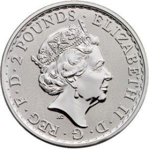 Queenseite der Münze Britannia 1 Unze Silber 2017 mit Jubiläums Privy