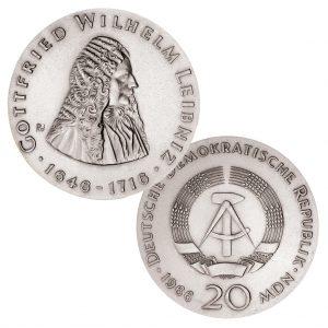 DDR 20 Mark der Notenbank 1966 250. Todestag Gottfried Wilhelm Leibniz , 800er Silber, 20,9g, Ø 33mm, Prägestätte A (Berlin), Auflage: 50.000, Jaeger-Nr. 1518