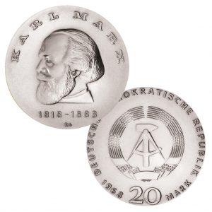 DDR 20 Mark 1968 150. Geburtstag von Karl Marx, 800er Silber, 20.9g, Ø 33mm, Prägestätte A (Berlin), Auflage: 76.538, Jaeger-Nr. 1521