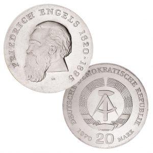 DDR 20 Mark 1970 150. Geburtstag Friedrich Engels, 625er Silber, 20.9g, Ø 33mm, Prägestätte A (Berlin), Auflage: 83.615, Jaeger-Nr. 1529