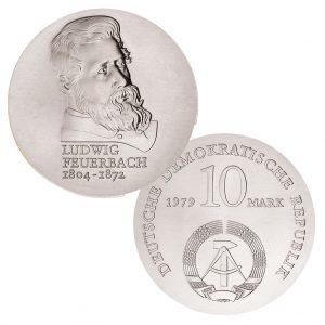 DDR 10 Mark 1979 175. Geburtstag Ludwig Feuerbach , 500er Silber, 17g, Ø 31mm, Prägestätte A (Berlin), Auflage: 50.500 (PP: 4.500), Jaeger-Nr. 1574