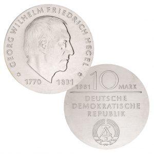 DDR 10 Mark 1981 150. Todestag Georg Wilhelm Friedrich Hegel, 500er Silber, 17g, Ø 31mm, Prägestätte A (Berlin), Auflage: 49.500 (PP: 5.500), Jaeger-Nr. 1581