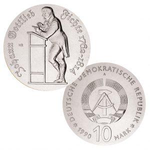 DDR 10 Mark 1990 175. Todestag von Johann Gottlieb Fichte, 500er Silber, 17g, Ø 31mm, Prägestätte A (Berlin), Auflage: 40.564 (PP: 4.200), Jaeger-Nr. 1636